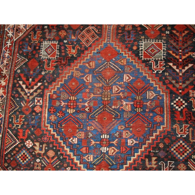 1880s Hand Made Antique Persian Khamseh Rug - 6' X 9' For Sale In New York - Image 6 of 10
