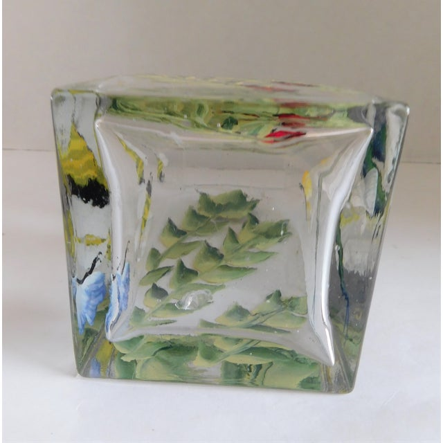 Hand-Painted Vintage Flora & Fauna Glass Vase For Sale In New York - Image 6 of 12
