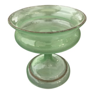 Early 20th Century Antique Green Opaline Footed Dish For Sale