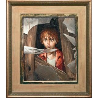 "1969 ""Boy"" Realist Style Portrait Oil Painting by Bernard Locca, Framed For Sale"