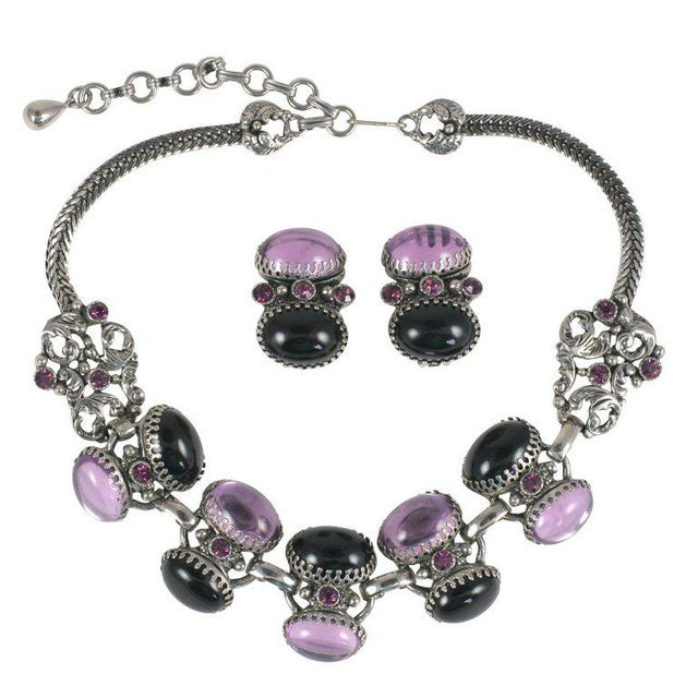 Lavender and Black Jeweled Necklace and Earrings For Sale - Image 10 of 10