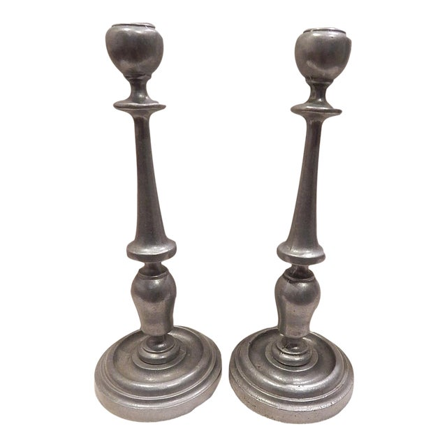 Traditional Freeport PA Carson Pewter Candle Sticks For Sale