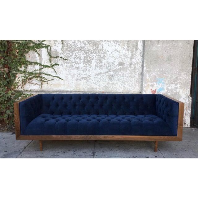 Blue Tufted Walnut Framed Sofa - Image 5 of 5