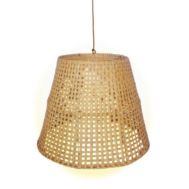 Coastal Large Basket Weave Pendant, Beige, Rattan For Sale - Image 3 of 3