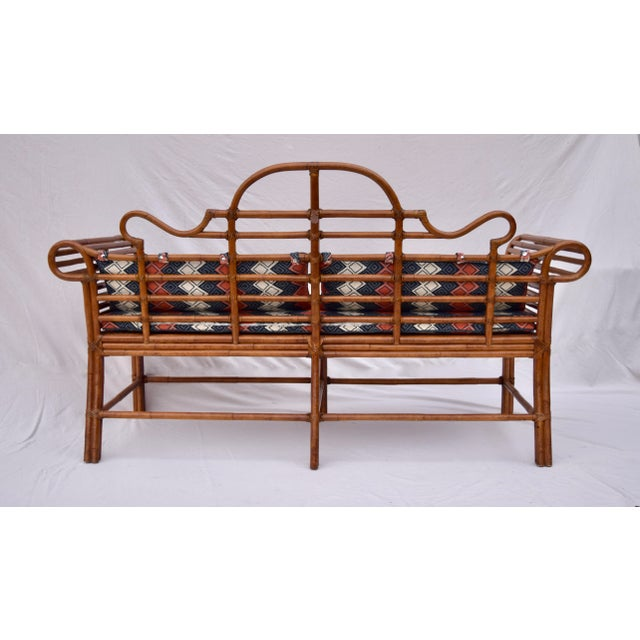 Lane Furniture Bamboo Caned Rattan Chinoiserie Sofa For Sale - Image 12 of 13