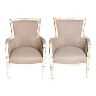 Vintage French Chippy Arm Chairs - a Pair For Sale