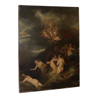 "Dutch School Old Master Oil Painting ""Hero and Leander"" 17th to 18th C. For Sale"