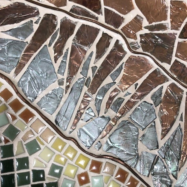 1960s 1960s Vintage Tile Glass and Copper Encased Mosaic Wall Hanging For Sale - Image 5 of 12