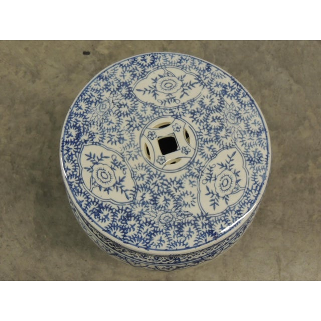 Vintage Blue And White Round Ceramic Garden Stool Chairish