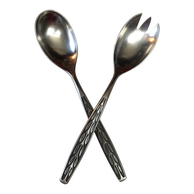 Mid-Century TH Marthinsen Pewter Salad Serving Utensils - a Pair For Sale