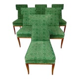 Image of Tommi Parzinger, 1960's Tuxedo Chairs With Maple Wood Legs, Set of 6 For Sale
