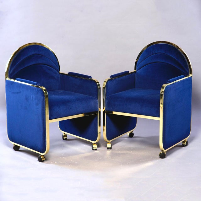 Pair Design Institute America Baughman Style Brass & Blue Velvet Club Chairs For Sale - Image 9 of 9