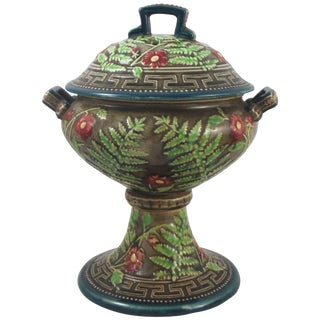 19th Century Victorian Choisy Le Roi Majolica Lidded Bowl For Sale