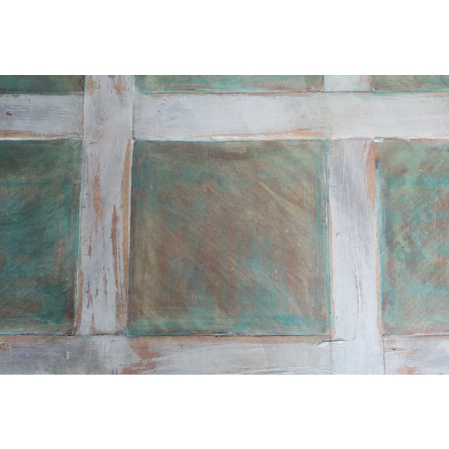 Green Monumental Square Scalloped French Painted Coffee Table For Sale - Image 8 of 11