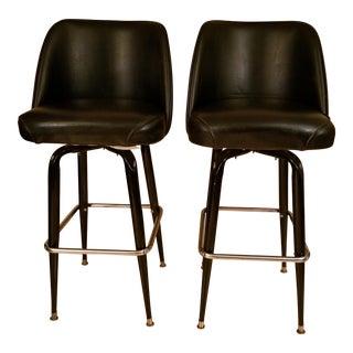 Mid-Century Modern Black Tall Barstools - a Pair