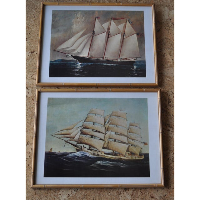 Lovely set in matching vintage bamboo frames. Excellent condition.