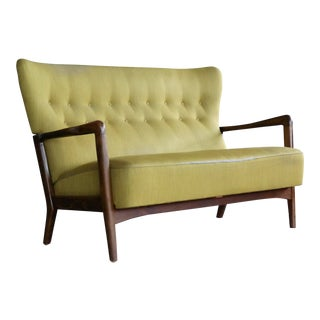 Fritz Hansen Open Arm Settee or Two-Seat Sofa Danish Midcentury For Sale