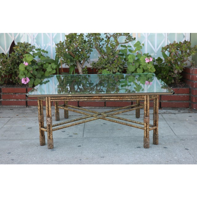 Metal Distressed Rustic Coffee Table For Sale In Los Angeles - Image 6 of 10