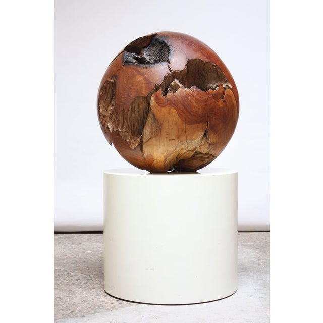 Midcentury Redwood Burl Sphere Sculpture For Sale - Image 13 of 13