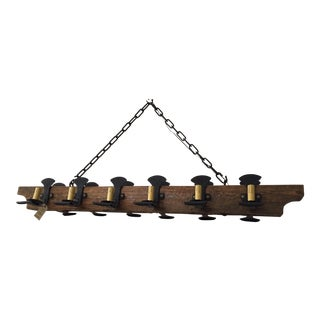 Farmhouse Style 12 Lights Wood Beam Chandelier For Sale