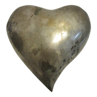 1970s Mid Century Modern Brass Molded Heart For Sale