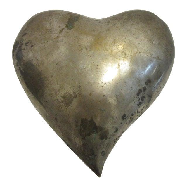 1970s Mid Century Modern Brass Molded Heart For Sale