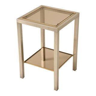 Striking French Modern Two-Tier Brass & Steel Side or End Table