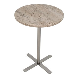 Travertine Marble and Chrome Drinks Table, circa 1970s For Sale