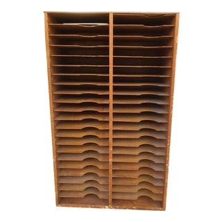 Vintage Letterpress Wood Printer Shelves Tall Wall Unit