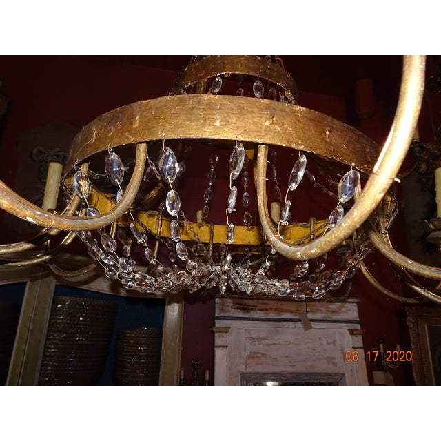 Early 19th Century 19th Century Italian Gilded Iron and Crystal Chandelier For Sale - Image 5 of 12