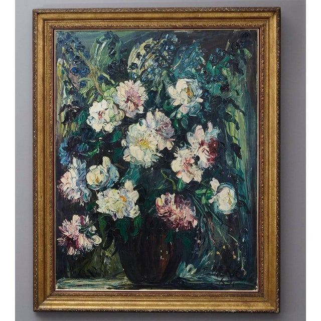 Oil painting on canvas titled 'Peonies' by Emeric Vagh-Weinmann (Hungarian, 1912-2012). Palette knife technique, signed...