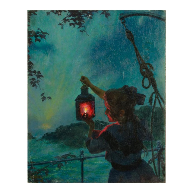 "Early 20th Century ""Girl with Lantern"" Figurative Oil Painting by Otto Toaspern For Sale"