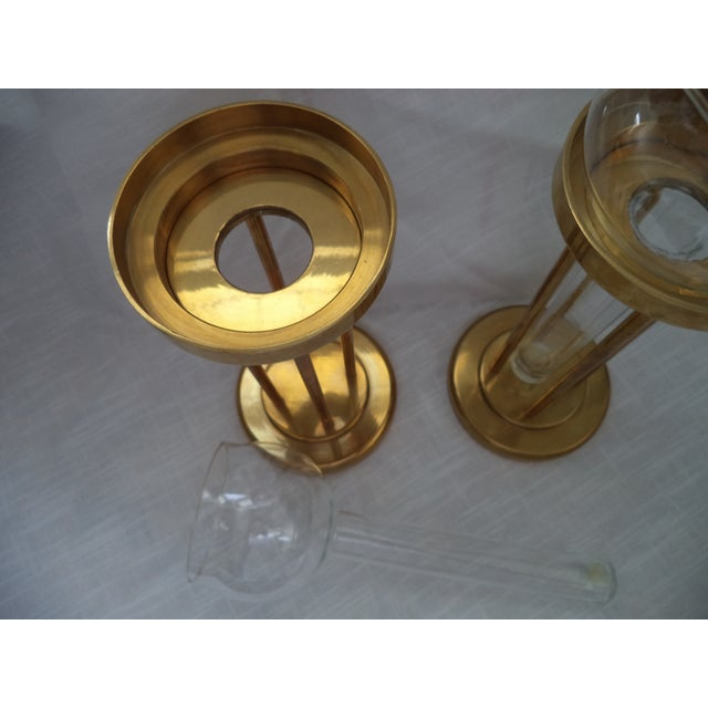 Vintage Mid-Century Brass and Glass Floating Candle Holders - a Pair For Sale - Image 4 of 10