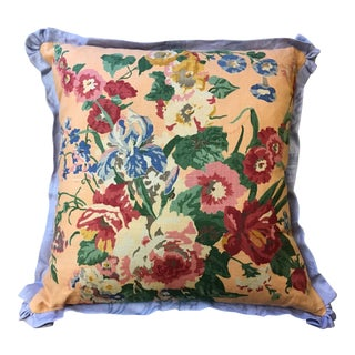 Cottage Style Linen Pillow For Sale