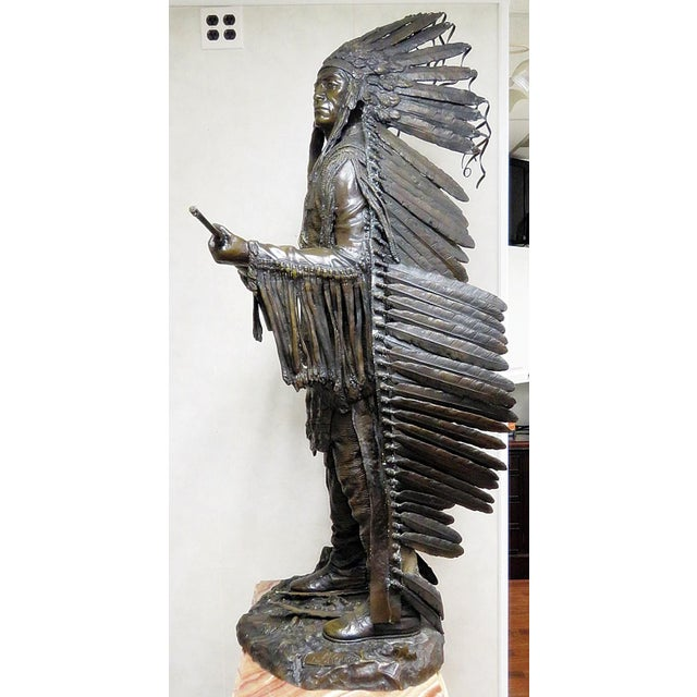 Early 20th Century Bronze Indian Sculpture Signed Carl Kauba For Sale - Image 5 of 13