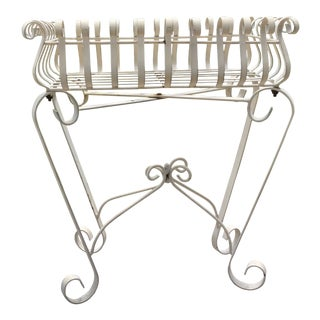 French Country White Wrought Iron Scrollwork Planter Table