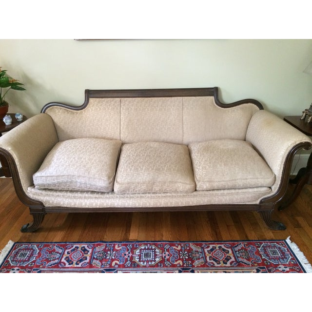 """This antique Duncan Phyfe sofa from the early 1900's is a beautiful compliment to any room! The seller says: """"The sofa has..."""