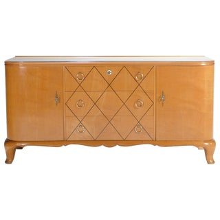 Midcentury René Prou Sycamore Brass Sideboard Commode, 1940s For Sale