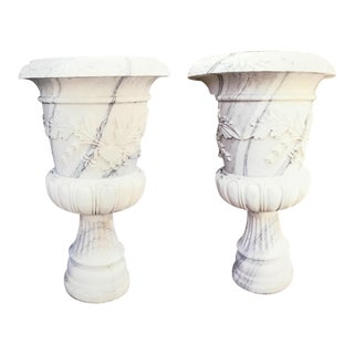 Late 19th Century Vintage Marble Urns - a Pair For Sale