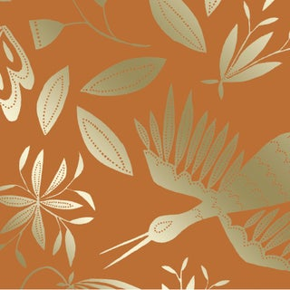 Julia Kipling Otomi Grand Wallpaper, Sample, in Dusk, Gold Flash For Sale