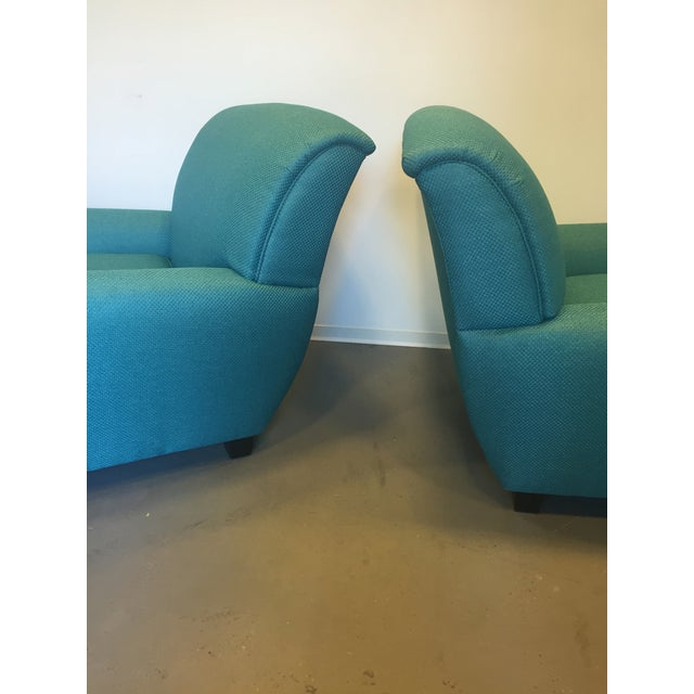 Turquoise Club Chairs - A Pair - Image 6 of 9