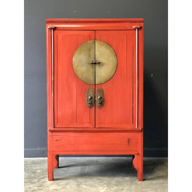 Antique Red Asian Cabinet For Sale - Image 13 of 13