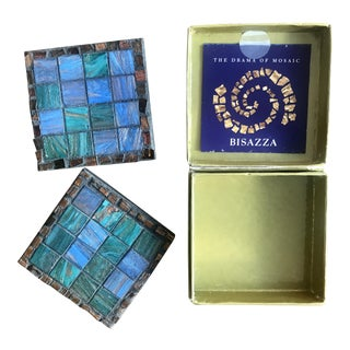 70th Academy Awards Governor's Ball Bisazza Mosaic Coasters in Box - A Pair For Sale