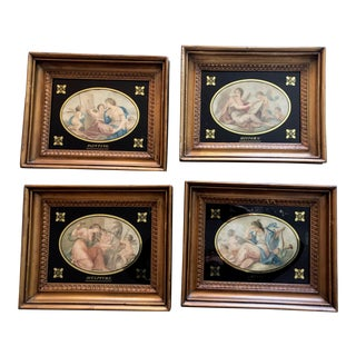 Framed Antique Reverse Glass Paintings - Set of 4 For Sale