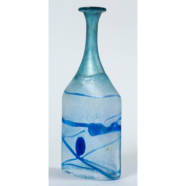 Art glass vase, Bertil Valien, Kosta Boda, Sweden, circa 1970. Frosted hand-blown glass with bright blue applied abstract...