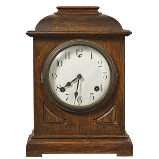 Antique Sessions or Seth Thomas Solid Oak Case Mantel Clock For Sale