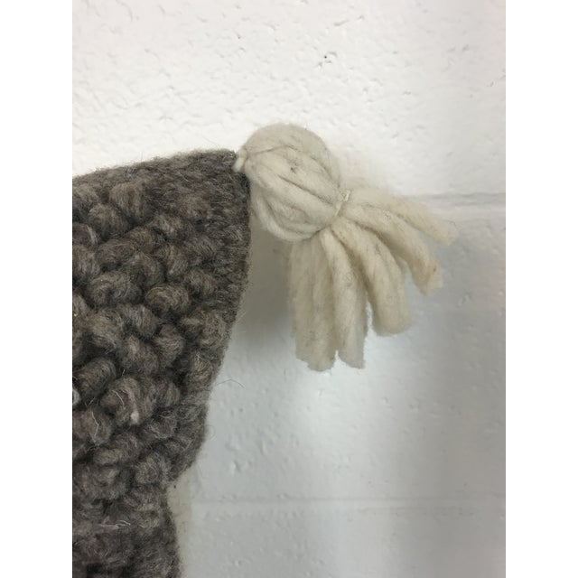 Boho Chic Gray & White Boho Wool Pillow For Sale - Image 3 of 6