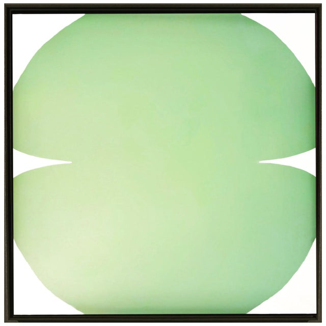 Contemporary Abstract Graphic Celadon and White Painting by Brooks Burns, Framed For Sale