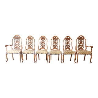 Romweber Ornate French Carved Dining Chairs, Set of Six For Sale