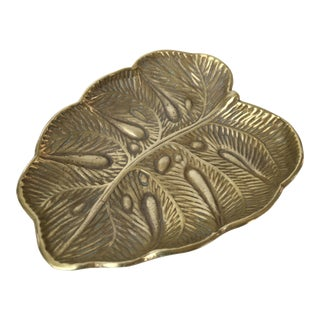 1940s Virginia Metalcrafters Solid Brass Monstera Leaf Tray For Sale